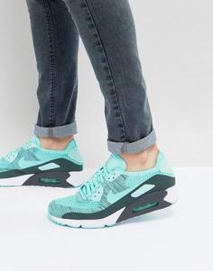 Голубые кроссовки Nike Air Max 90 Ultra Flyknit 875943-301 - Синий