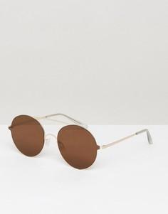 Легкие круглые солнцезащитные очки с планкой ASOS - Золотой