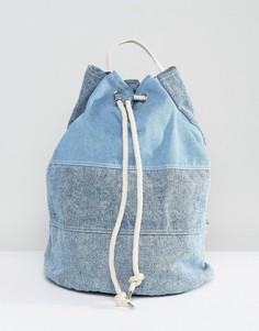 Большая джинсовая сумка дафл с затягивающимся шнурком ASOS - Синий