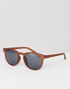 Круглые солнцезащитные очки в коричневой матовой оправе ASOS - Коричневый