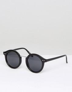 Черные круглые солнцезащитные очки Pieces - Черный