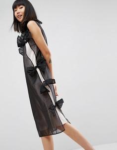 Платье миди из органзы с бантиком ASOS WHITE - Черный