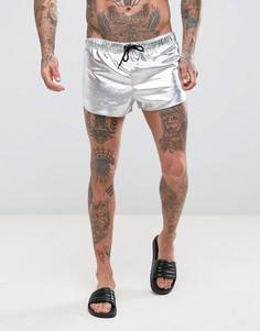 Серебристые короткие шорты для плавания с разрезами по бокам ASOS - Серебряный