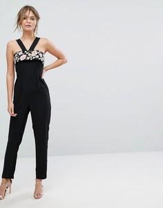 Комбинезон с перекрестной отделкой и вышивкой New Look - Черный