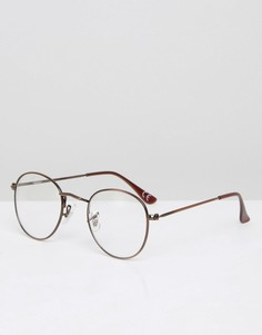 Круглые очки с прозрачными стеклами и полированной оправой ASOS - Прозрачный