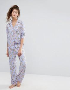 Пижамный комплект с принтом пиццы Chelsea Peers - Мульти
