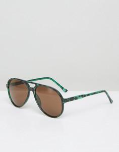 Солнцезащитные очки-авиаторы с зеленым черепаховым принтом ASOS - Зеленый