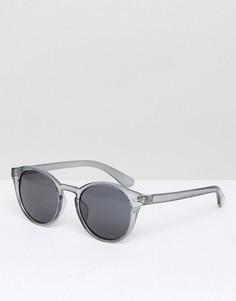 Серые круглые солнцезащитные очки c дымчатыми стеклами ASOS - Серый