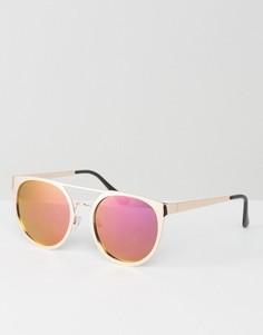 Круглые солнцезащитные очки в оправе цвета розового золота с розовыми зеркальными стеклами ASOS - Золотой