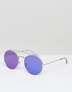 Круглые солнцезащитные очки в серебристой оправе с зеркальными плоскими стеклами ASOS - Серебряный
