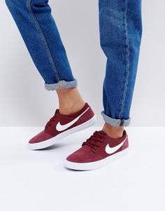 Бордовые замшевые кроссовки Nike SB Portmore Ii - Красный