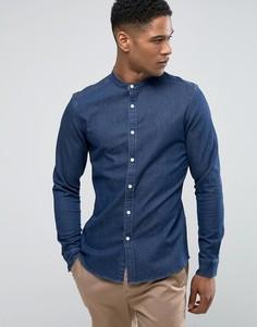 Темная джинсовая рубашка скинни с воротником на пуговице ASOS - Темно-синий