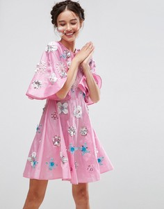 Короткое приталенное платье из тафты с отделкой ASOS SALON - Фиолетовый