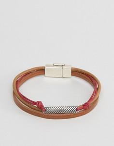 Коричнево-красный браслет с зажимом ASOS - Коричневый