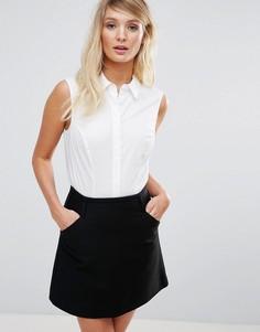 Рубашка без рукавов из эластичного хлопка ASOS Fuller Bust - Белый