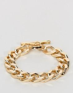 Крупный золотистый браслет-цепочка ASOS - Золотой