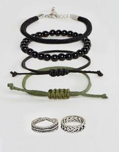 Плетеный браслет и кольца ASOS - Черный