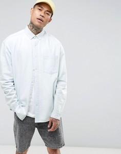 Выбеленная джинсовая оверсайз-рубашка ASOS - Синий