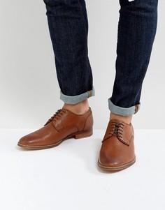 Светло-коричневые кожаные туфли дерби с тисненой отделкой ASOS - Рыжий