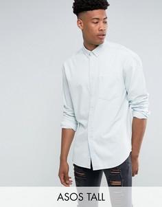 Выбеленная джинсовая оверсайз-рубашка ASOS TALL - Синий