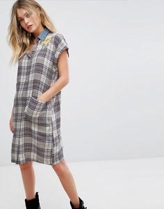 Платье-рубашка в клетку с воротником из денима и вышивкой Diesel - Мульти