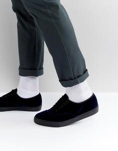 Темно-синие кеды из бархата на шнуровке ASOS - Темно-синий