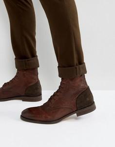 Кожаные ботинки на шнуровке Hudson London Yoakley - Коричневый