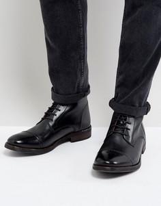 Блестящие черные кожаные ботинки в стиле милитари Base London Clapham - Черный