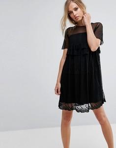 Свободное платье со звездами Lost Ink - Черный
