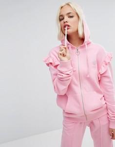 Оверсайз-худи с оборками Lazy Oaf - Розовый