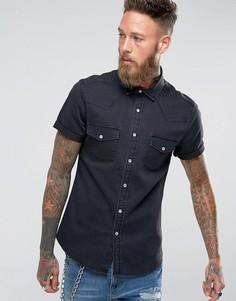 Эластичная узкая джинсовая рубашка черного цвета ASOS - Черный