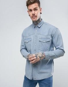 Выбеленная джинсовая оверсайз-рубашка в винтажном стиле ASOS - Синий