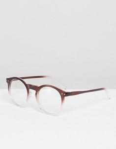 Бордовые круглые солнцезащитные очки с эффектом деграде и прозрачными стеклами ASOS - Коричневый