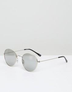 Круглые солнцезащитные очки в металлической оправе ASOS - Серебряный