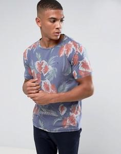 Синяя футболка классичекого кроя с цветочным принтом Tommy Hilfiger Denim - Синий