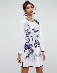 Свободное платье мини с вышивкой и пышными рукавами ASOS PREMIUM - Мульти