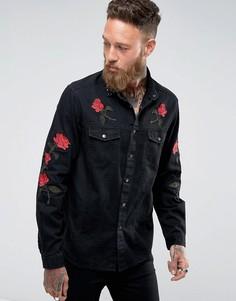 Свободная джинсовая рубашка с цветочной вышивкой и заклепками ASOS - Синий