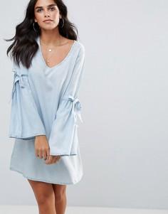 Платье из шамбре с рукавами клеш Influence - Синий