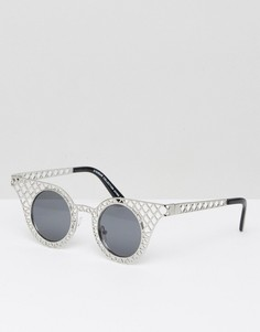 Круглые солнцезащитные очки 7X - Серебряный