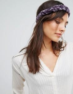 Бархатная плетеная повязка на голову Rock N Rose - Фиолетовый