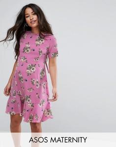 Чайное платье с цветочным принтом ASOS Maternity - Розовый