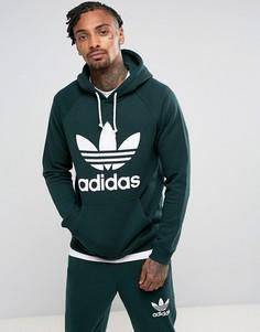 Худи зеленого цвета с логотипом-трилистником adidas Originals BR4183 - Зеленый