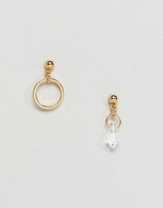 Непарные серьги с кольцом и подвеской ASOS - Золотой