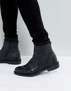Кожаные ботинки на молнии Walk London Darcy - Черный