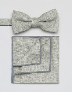 Галстук-бабочка и платок для пиджака 7X - Серый