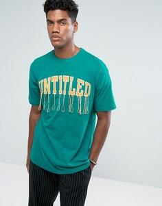 Зеленая оверсайз-футболка с вышивкой и отделкой ASOS - Зеленый