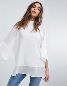 Однотонная свободная футболка с прозрачными вставками ASOS - Белый