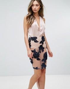 Платье миди с отделкой на юбке Love & Other Things - Синий
