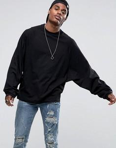 Оверсайз-футболка с длинными рукавами летучая мышь ASOS - Черный