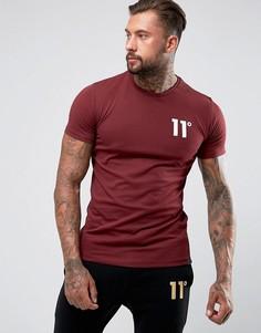 Бордовая облегающая футболка с логотипом 11 Degrees - Красный